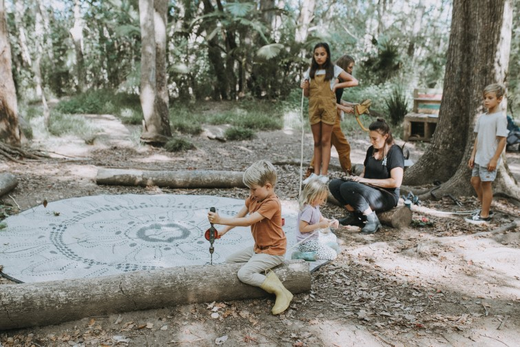 group of children at forest school