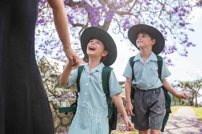 kids happy walking