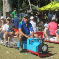 minature thomas the tank engine train, minature train rides, families on miniature trains