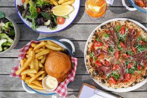 hamburger and pizza