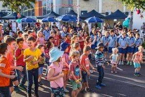 technicolour festival, kids dancing in the street