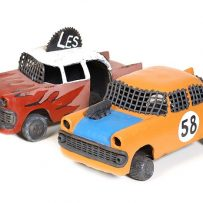 imagine this Ipswich art gallery, Phil Gordon's ceramic and enamel cars titled 'Les' and 'Stockcar' (2003) from the Ipswich Art Gallery Collection