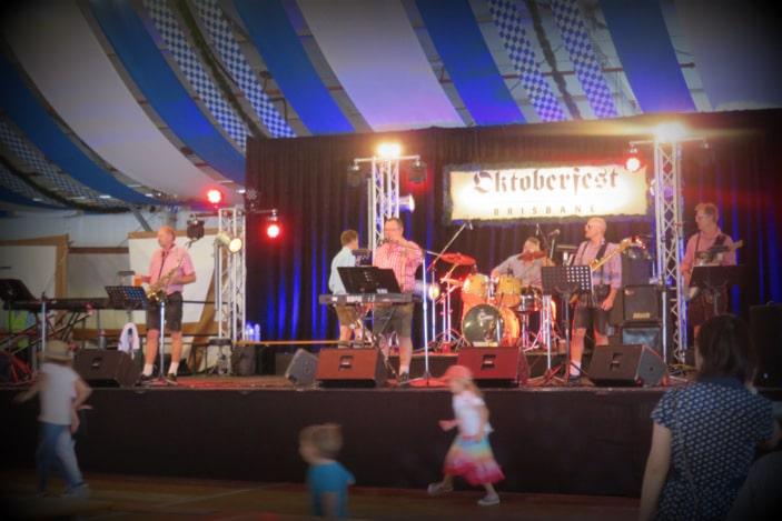 Band on stage at Oktoberfest Brisbane