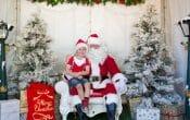Pine rivers Christmas carols, santa, boy sitting on santas knee