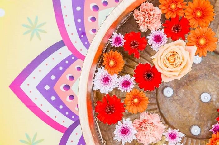 diwali festival of lights garden city, flowers, candles