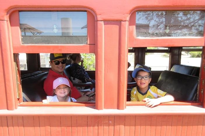 kids on steam train ride ipswich