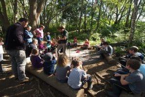 Kids sitting at Wildlings Forest School