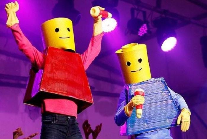Bracken Ridge Christmas Carols, Lego men with candy cane microphones singing Christmas carols