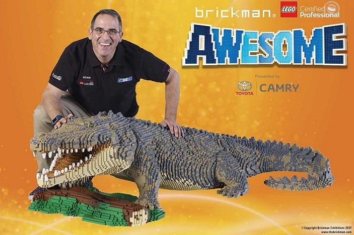 Brickman awesome hero image, Brickman and LEGO crocodile