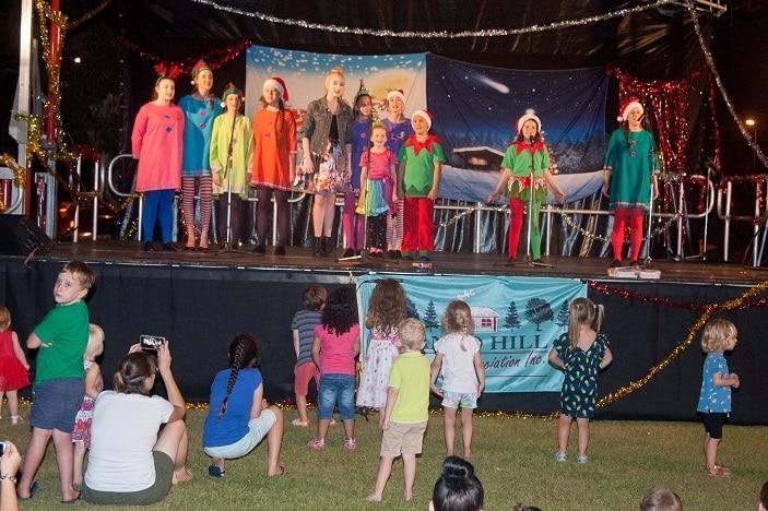Mango Hill Christmas Carols 2018, kids in Christmas costumes, carols, stage,
