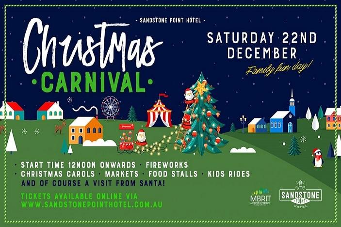 SAndstone Point Christmas Carnival 2018, Santa, Christmas tree, carnival rides, lights, fireworks