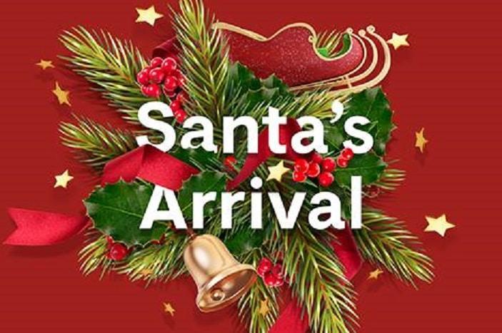 SAnta's arrival hyperdome, holly, christmas bells