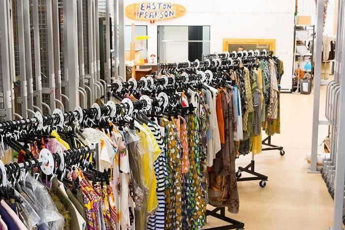 The Designers' Guide Easton Pearson Archive Museum of Brisbane, fashion exhibition, clothes racks, designer dresses