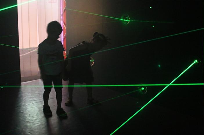 Kids in laser beam security room