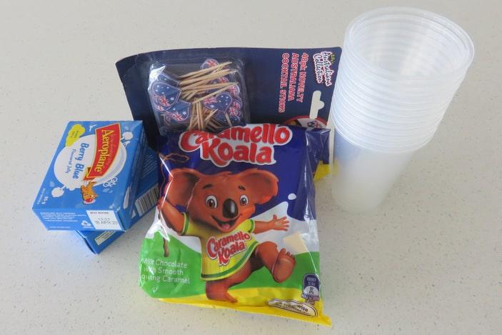 packets of jelly, Caramello Koalas and Australian flags