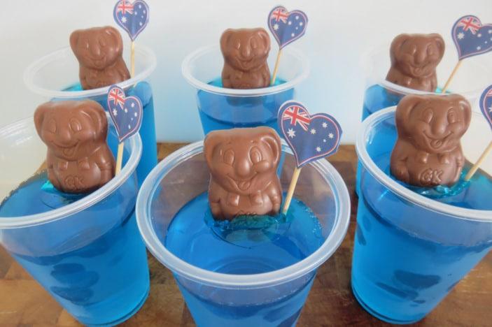 Caramello koala in a 'pond' of blue jelly with an Australian flag