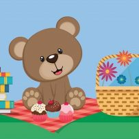 Teddy Bears Picnic Let's Go, teddy bear on a picnic rug eating cupcakes, picnic basket, books, teddy bear story time