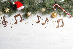 Christmas decorations with musical notes