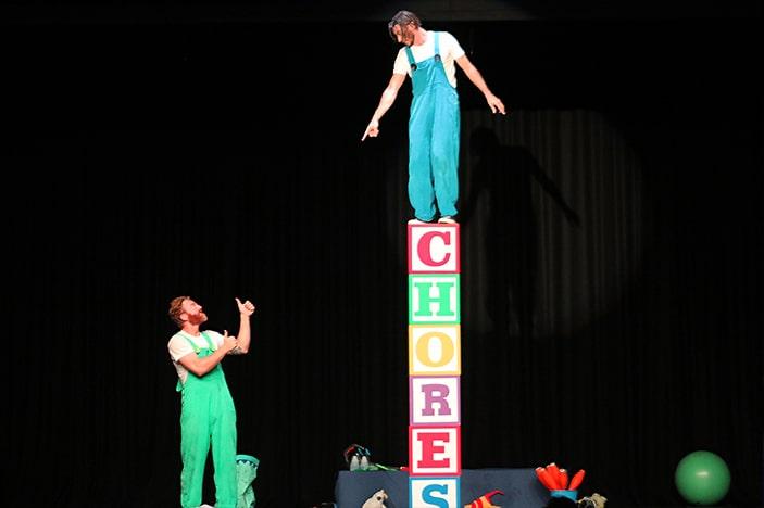 Circus artists on blocks