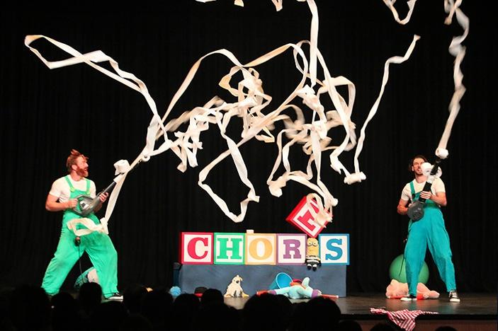 Toilet paper gun circus performers