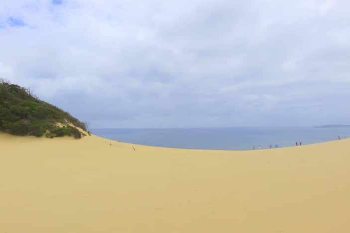 View of ocean from sand dunes