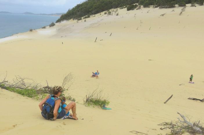 Parent and child sandboarding