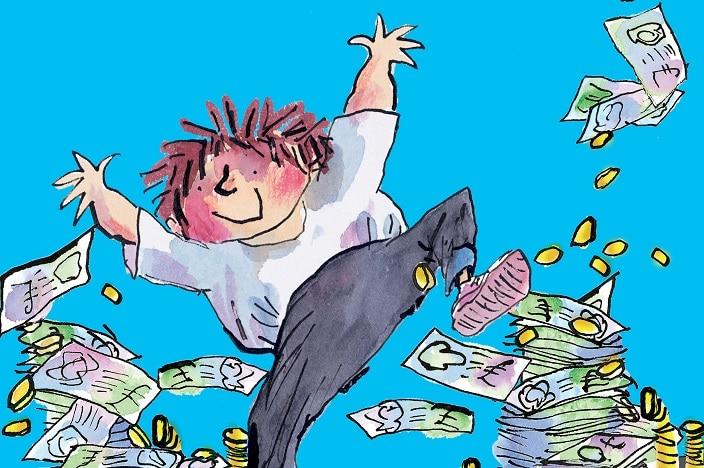 billionaire boy live on stage, David Williams, boy dancing in money