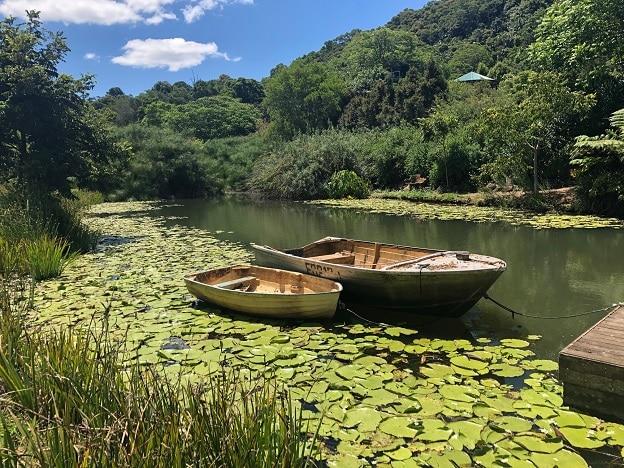 Boat on lake at Maleny Botanic Gardens in Maleny