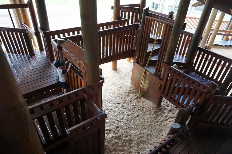 kidspace fort, wooden boardwalks, brisbane playground