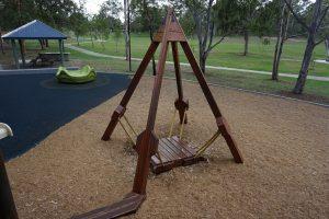 wooden aframe play ground equipment