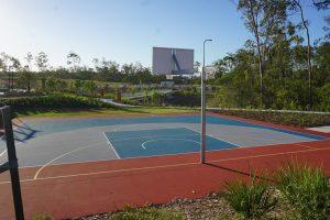outdoor basketball court flagstone