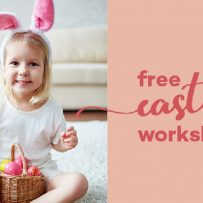 Free Easter Craft workshops brookside, girl with bunny ears and easter basket