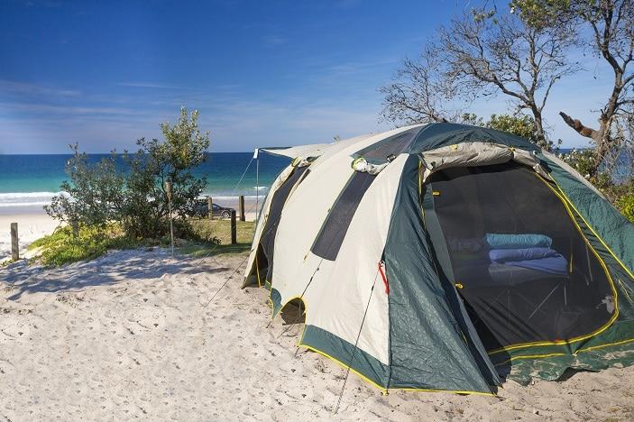 ocean beach bribie, camping bribie, bribie island