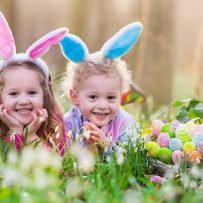 Easter in the Forest Forest lake, Kids with bunny ears in the grass, easter egg basket