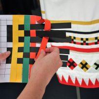 colour weave Museum of Brisbane, paper weaving