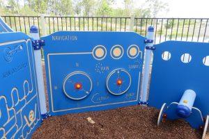 ship themed playground equipment, blue