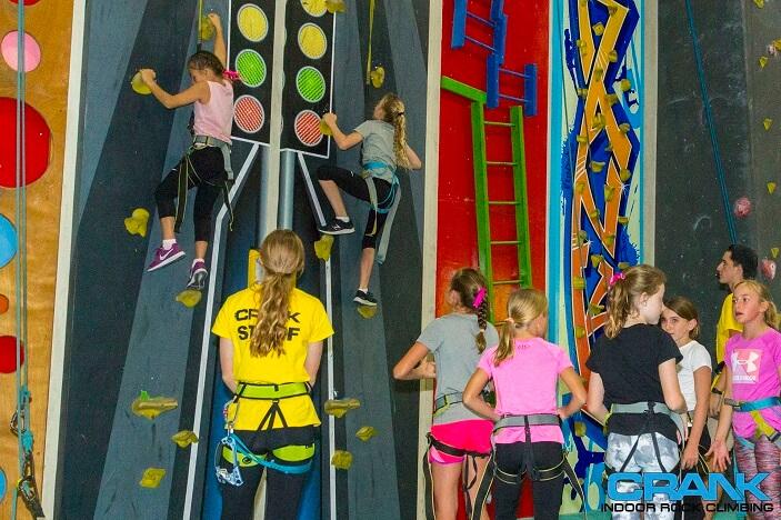 girls rock climbing, indoor rock climbing, crank