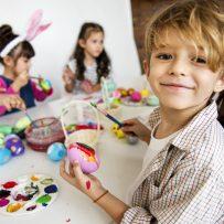 Easter Craft stock image boy