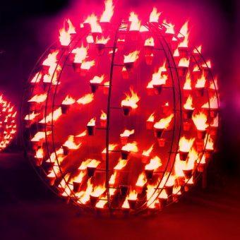 Fire Garden Brisbane Festival, fire sculptures, City Botanic Gardens