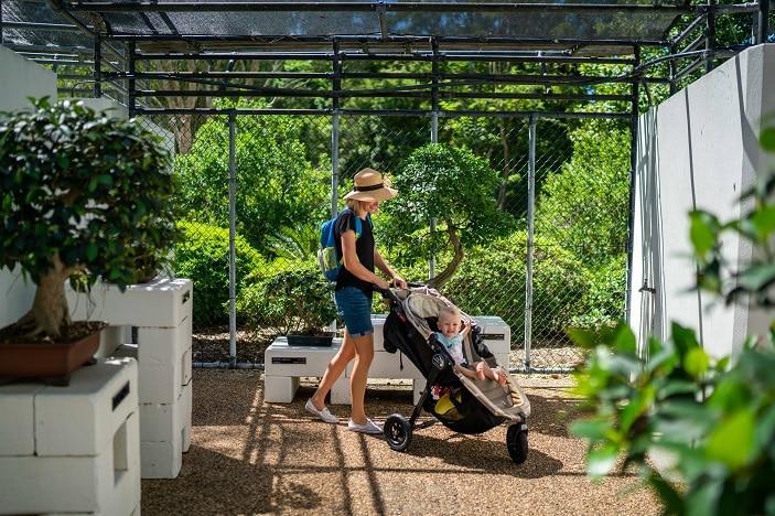 Mother and son walking through Mount Coot-tha Botanic Gardens