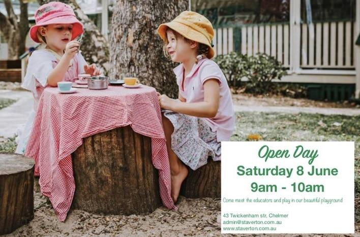 Staverton Kindy open day, girls having a picnic