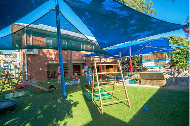 Outdoor playground under shade sails