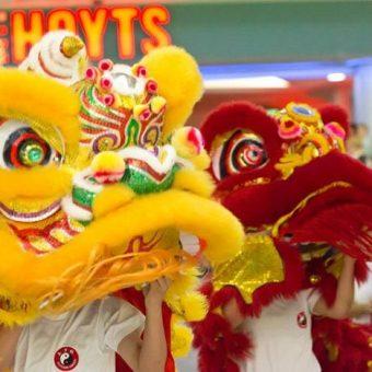 Chinese lion dancing sunnybank plaza