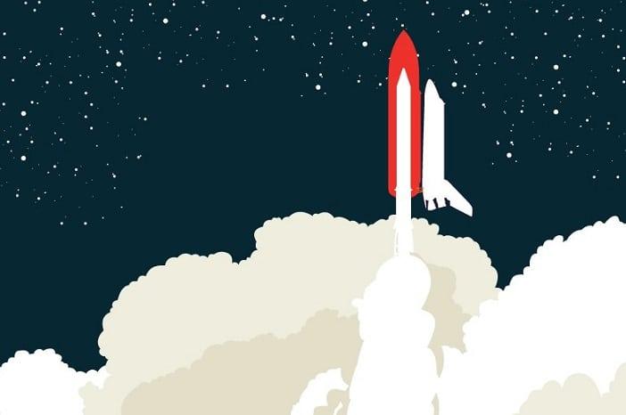 Blast off Queensland Museum, rocket launching into space