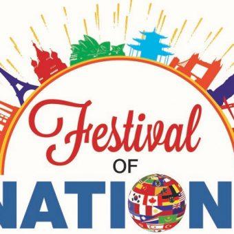 Festival of Nations banner Corinda State School, Eiffel tower, statue of liberty, opera house, famous world landmarks, international flags