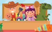 Toy Town capalaba central, toy box, doll, cowboy, woody, dinosaur, soldier, blocks