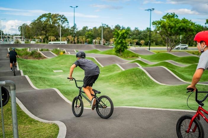 Boy riding bike at skate park. Photo supplied by Brisbane City Council.