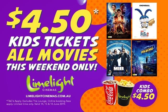 calendar listing limelight cinema kids deal, Ipswich, Secret life of pets2, Aladdin, MIB International, Pokemon Detective Pikachu
