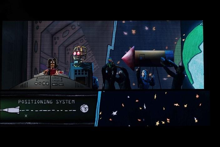 Laser Beak Man, space ship, dead puppet society