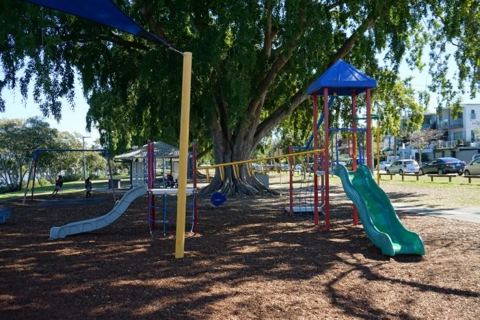 inner city playground, shady